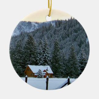 Snowy Cabin Ceramic Ornament