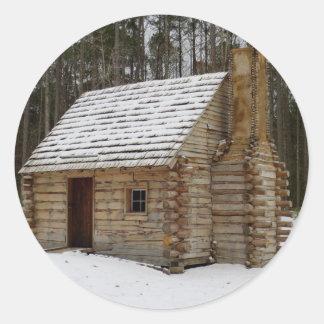 Snowy Cabin Classic Round Sticker