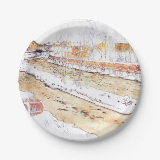 Snowy Canal Timber Chute Paper Plate