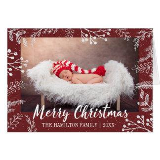 Snowy Chalk Branches Colour Editable Photo Card