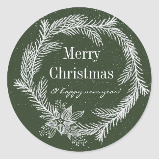 Snowy Chalk Wreath Colour Editable Holiday Classic Round Sticker