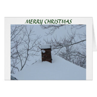 Snowy Chimney & Roof, Christmas Card