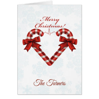 Snowy Christmas Candy Cane Heart Ekg Strip Card