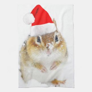 Snowy Christmas Chipmunk Kitchen Towel