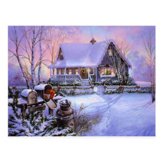 Snowy Christmas House Postcard