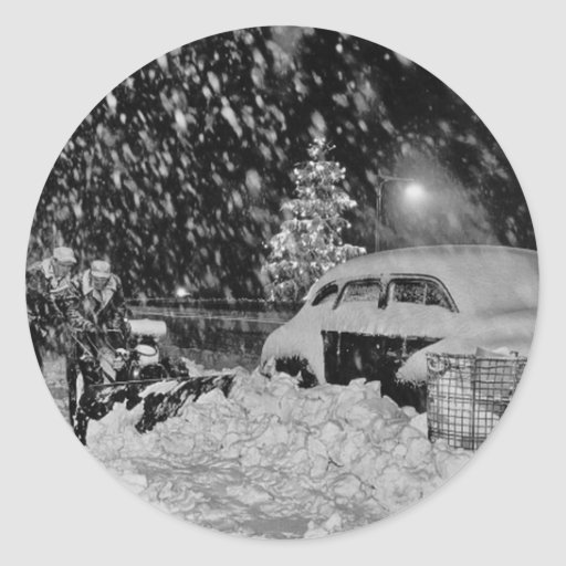 Snowy Christmas in New York City Vintage Round Stickers