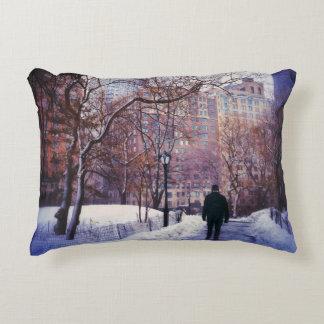 Snowy City Stroll Decorative Pillow