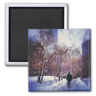 Snowy City Stroll Square Magnet