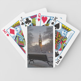 Snowy Clock Tower with Bench Bicycle Playing Cards