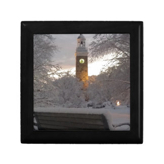 Snowy Clock Tower with Bench Gift Box