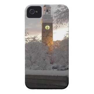 Snowy Clock Tower with Bench iPhone 4 Case
