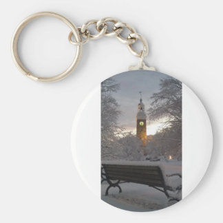 Snowy Clock Tower with Bench Keychain