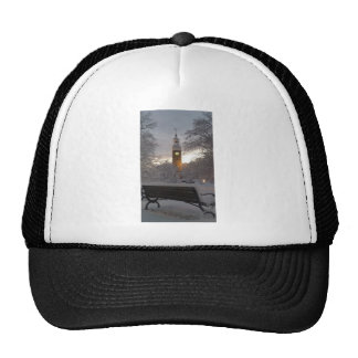 Snowy Clock Tower with Bench Trucker Hat