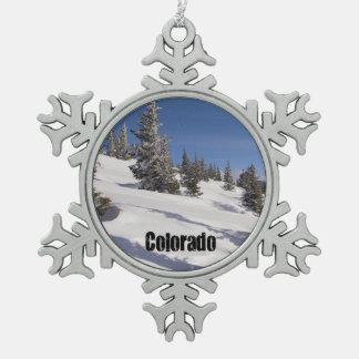 Snowy Colorado Rocky Mountains Snowflake Pewter Christmas Ornament