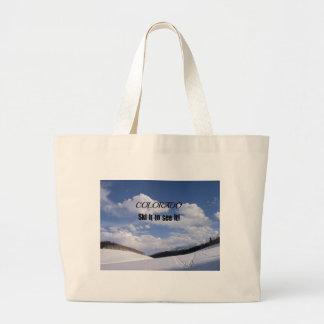 Snowy Colorado Ski Slopes Large Tote Bag