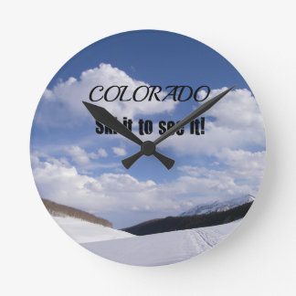 Snowy Colorado Ski Slopes Round Clock