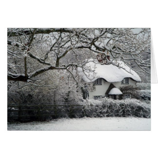 Snowy cottage card