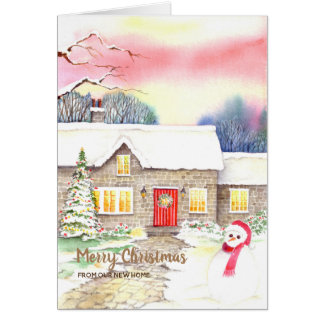 Snowy Cottage Christmas New Home We Have Moved Card