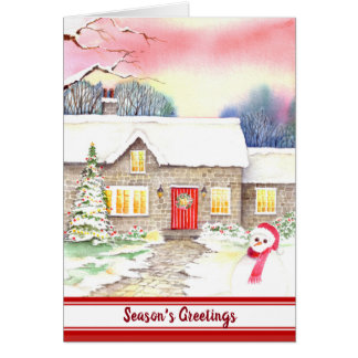 Snowy Cottage Watercolor Painting Card