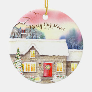 Snowy Cottage Watercolor Painting Ceramic Ornament