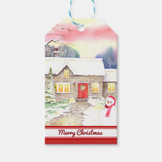 Snowy Cottage Watercolor Painting Gift Tags