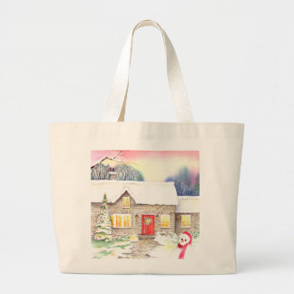 Snowy Cottage Watercolor Painting Large Tote Bag