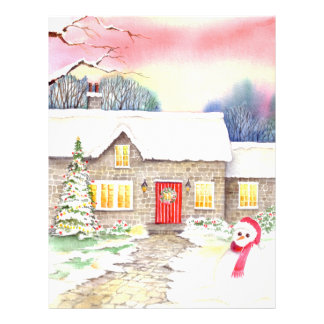 Snowy Cottage Watercolor Painting Letterhead