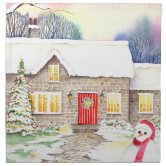 Snowy Cottage Watercolor Painting Napkin