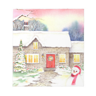 Snowy Cottage Watercolor Painting Notepad