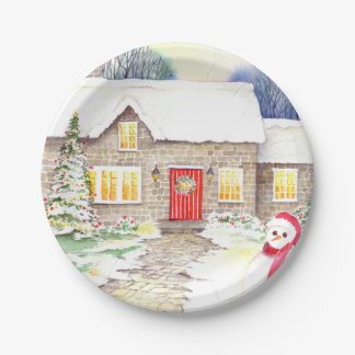 Snowy Cottage Watercolor Painting Paper Plate