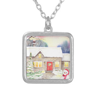 Snowy Cottage Watercolor Painting Silver Plated Necklace