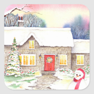Snowy Cottage Watercolor Painting Square Sticker