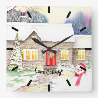 Snowy Cottage Watercolor Painting Square Wall Clock
