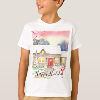 Snowy Cottage Watercolor Painting T-Shirt
