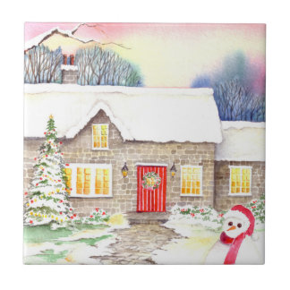 Snowy Cottage Watercolor Painting Tile