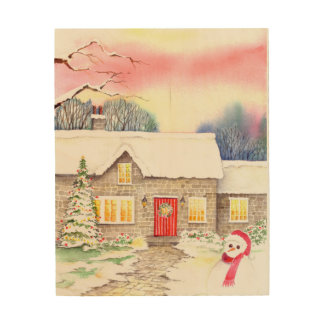 Snowy Cottage Watercolor Painting Wood Wall Art