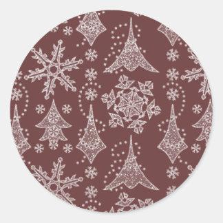Snowy Damask Round Sticker