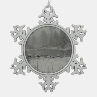 Snowy Dawn on Tilton River Snowflake Pewter Christmas Ornament
