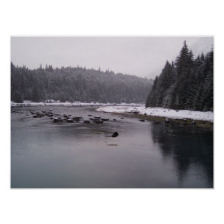 Snowy Day at the Chilkoot River Poster
