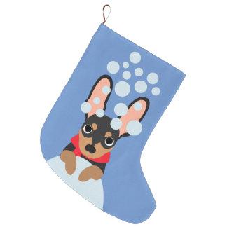 Snowy Doberman Pinscher Christmas Stocking