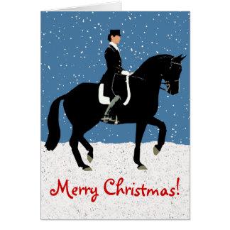 Snowy Dressage Horse Christmas Card