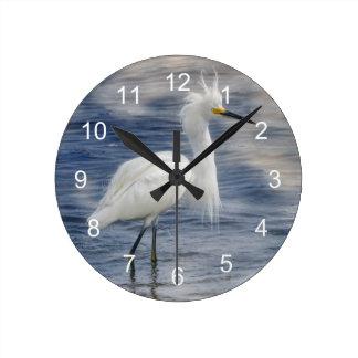 Snowy Egret Animal Wildlife Wall Clock