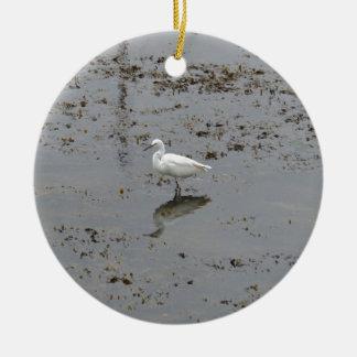 Snowy Egret Ceramic Ornament