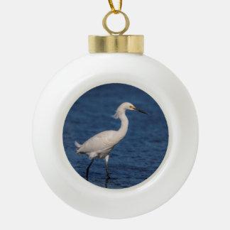 Snowy Egret on North Beach Ceramic Ball Christmas Ornament