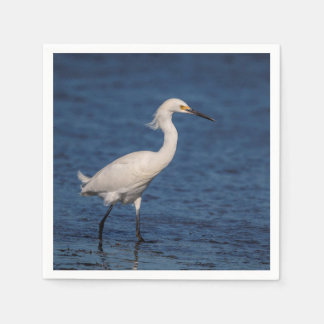 Snowy Egret on North Beach Disposable Napkins