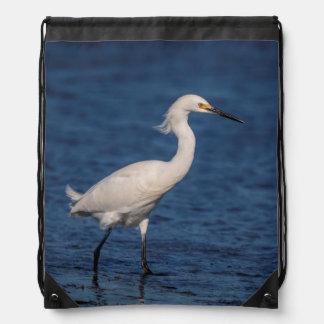 Snowy Egret on North Beach Drawstring Bag