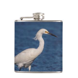 Snowy Egret on North Beach Hip Flask
