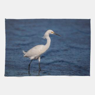 Snowy Egret on North Beach Kitchen Towel