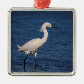 Snowy Egret on North Beach Metal Ornament