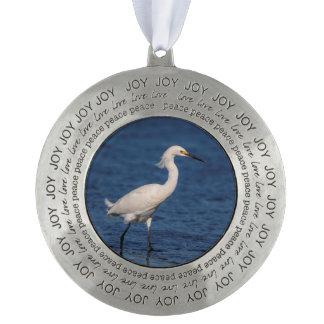 Snowy Egret on North Beach Pewter Ornament